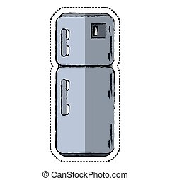 cartoon refrigerator appliance kitchen icon