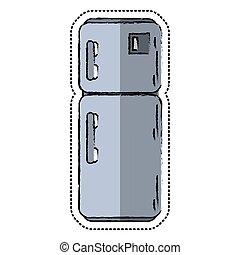 cartoon refrigerator appliance kitchen icon