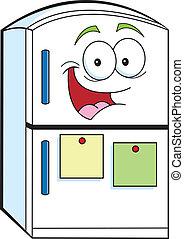 Cartoon illustration of a smiling refrigerator.