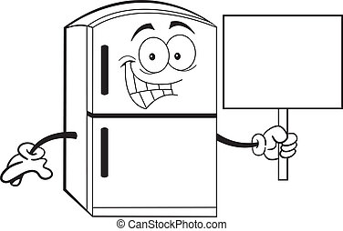 Black and white illustration of a refrigerator holding a sign.
