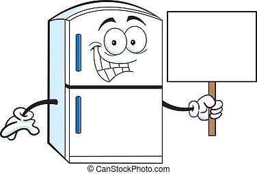 Cartoon illustration of a refrigerator holding a sign.
