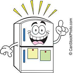 Cartoon illustration of a refrigerator with an idea.