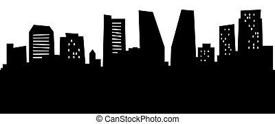 Cartoon skyline silhouette of Regina, Saskatchewan.