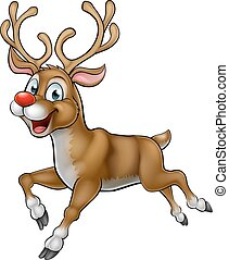 Cartoon Reindeer Christmas Character - A happy smiling...