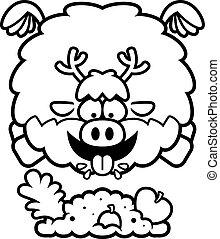 Cartoon Reindeer Eating - A cartoon illustration of a...