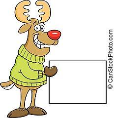 Cartoon reindeer holding a sign.