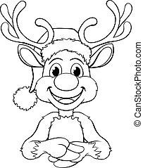 Cartoon Reindeer in Santa Hat Christmas