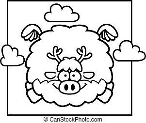 Cartoon Reindeer in the Sky