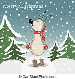 Cartoon reindeer in winter forest.