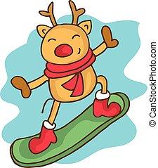 Cartoon reindeer on snowboard Christmas