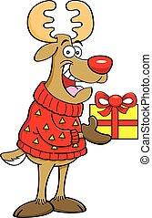 Cartoon reindeer wearing a sweater - Cartoon illustration of...