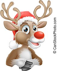 A Christmas reindeer cartoon character wearing a Santa hat