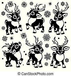 cartoon reindeers set black and white