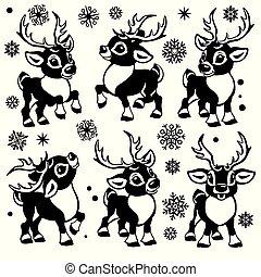 cartoon reindeers set black and white