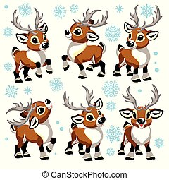 cartoon reindeers set