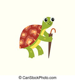 Cartoon reptile turtle funny character with umbrella the vector illustration isolated on white background. Tortoise image to use in ocean and sea life designs.