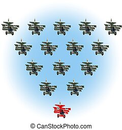 Cartoon retro airplane Leader, leadership concept. Unique and different concept
