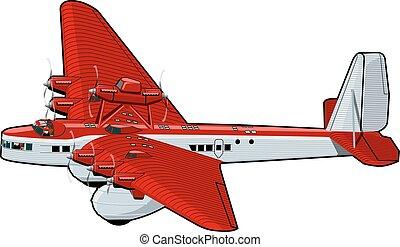 Cartoon Retro Airplane - Vector Cartoon Plane. Available...