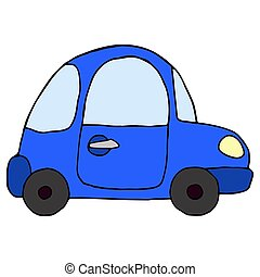 Cartoon retro blue car isolated on white background. Vector illu