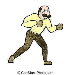 cartoon retro boxer man