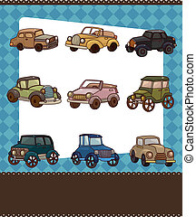 cartoon retro car card