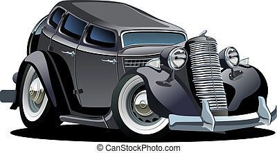 Cartoon retro car isolated on white background. Available EPS-8 vector format separated by groups and layers for easy edit