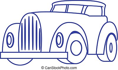 Cartoon Retro Car on white background. Vector