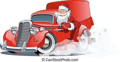 Cartoon retro Christmas delivery truck