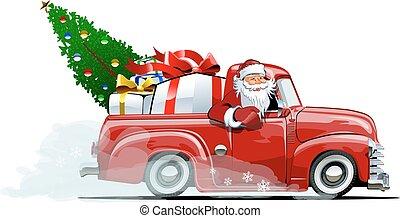 Cartoon retro Christmas pickup - Cartoon retro Christmas...