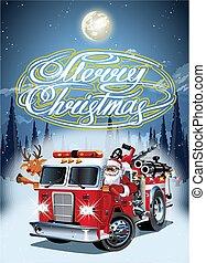 Cartoon retro Christmas poster with firetruck and Santa ...