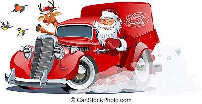 Cartoon retro Christmas van isolated on white background -...