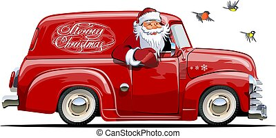 Cartoon retro Christmas van with Santa Claus