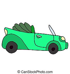 Cartoon retro green car isolated on white background. Vector ill