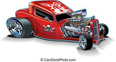 Cartoon retro hot rod isolated on white background. ...