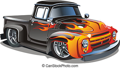 Cartoon retro hot rod isolated on white background....