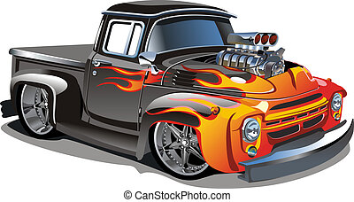 Cartoon retro hot rod isolated on white background. ...