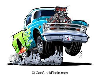 Cartoon retro hot rod isolated on white background