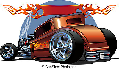 Cartoon retro hot rod isolated on white background