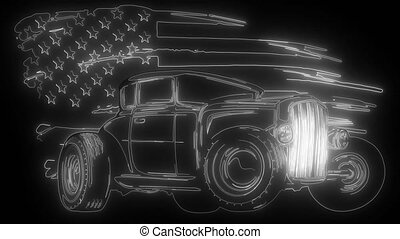 Cartoon Retro Hot Rod digital video
