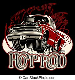 Cartoon retro hot rod with vintage lettering poster
