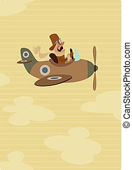 Cartoon retro pilot aviator on his vintage airplane on flight