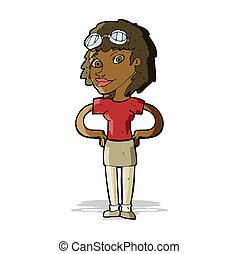 cartoon retro pilot woman