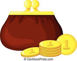Cartoon retro purse and coins