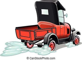Cartoon retro red pickup truck isolated on white background. Vector illustration.