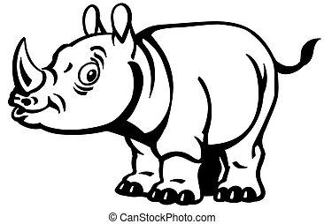 cartoon rhino black and white