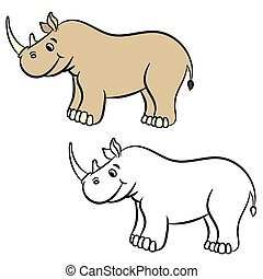 Cartoon rhino. Coloring book