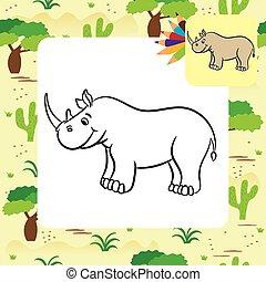Cartoon rhino. Coloring page