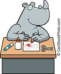 Cartoon Rhino Crafts - A cartoon illustration of a rhino...