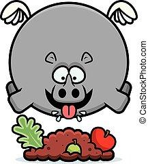 Cartoon Rhino Eating - A cartoon illustration of a rhino...