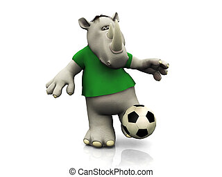 Cartoon rhino kicking soccer ball.